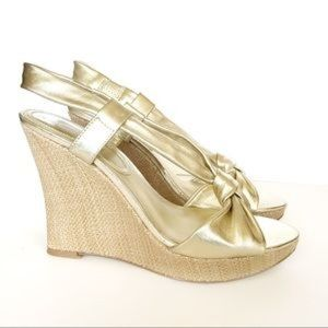 Charles by Charles David Wedge Sandal Gold Rattan
